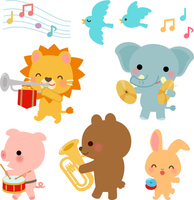 Illustration set of animals of the musical band [4405385] animal