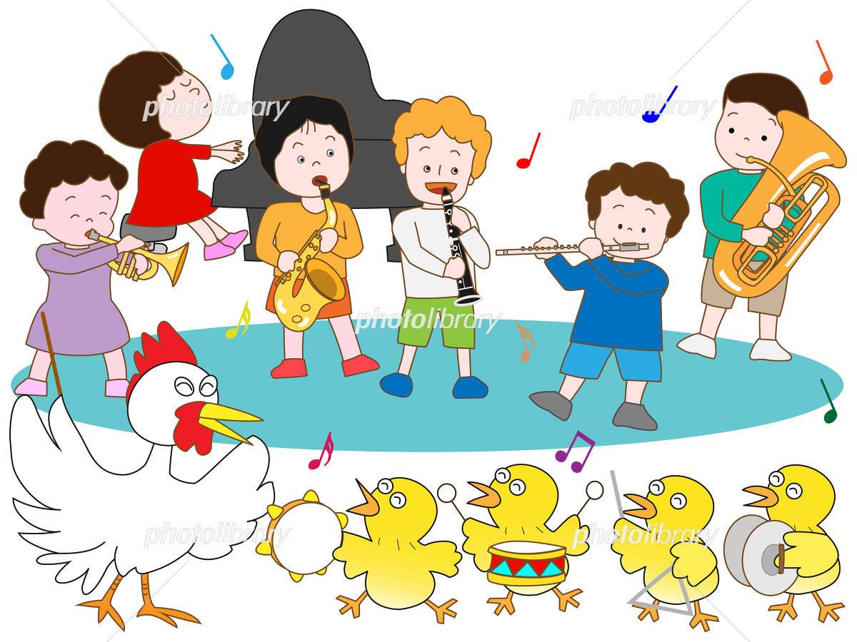 ヒヨコと子供の演奏会 イラスト素材 4500834 フォトライブラリー