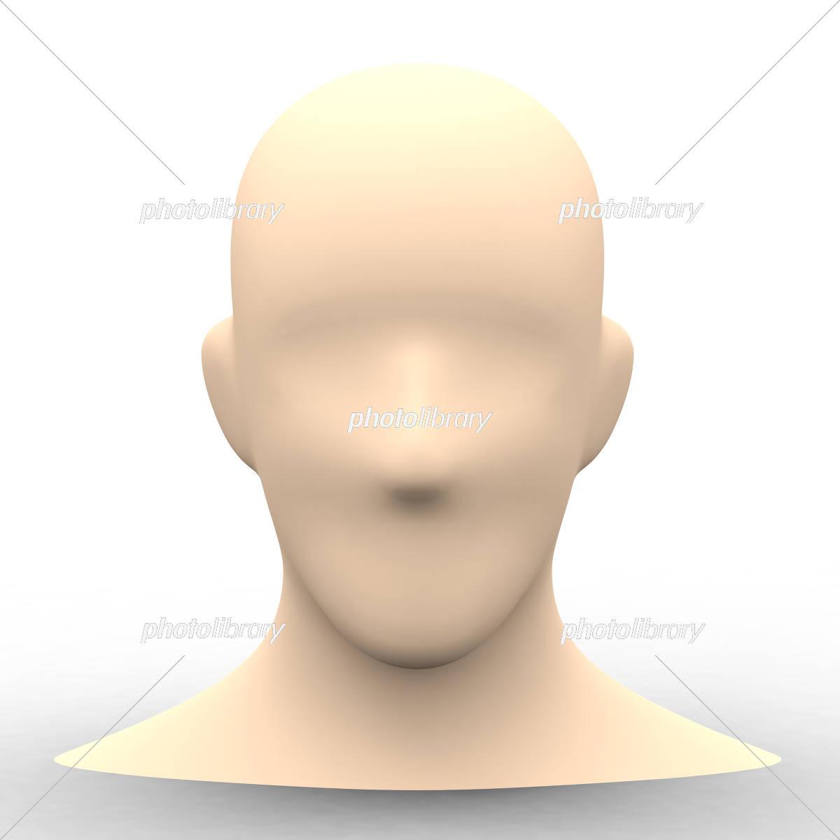 シンプルな人物の顔の素体3dレンダリング画像 イラスト素材 4569128