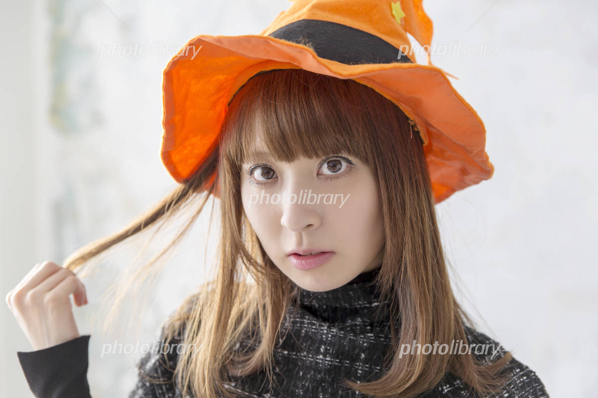 Indoor surprised stare woman Portrait Halloween image Looking At Camera Photo