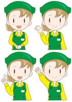 Super clerk woman look pose set A [4633301] supermarket