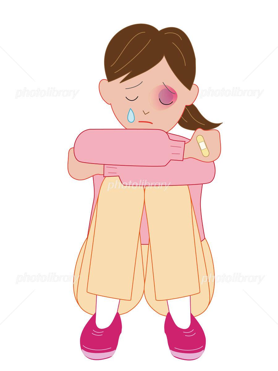 暴力を受けて泣く女性のイラスト