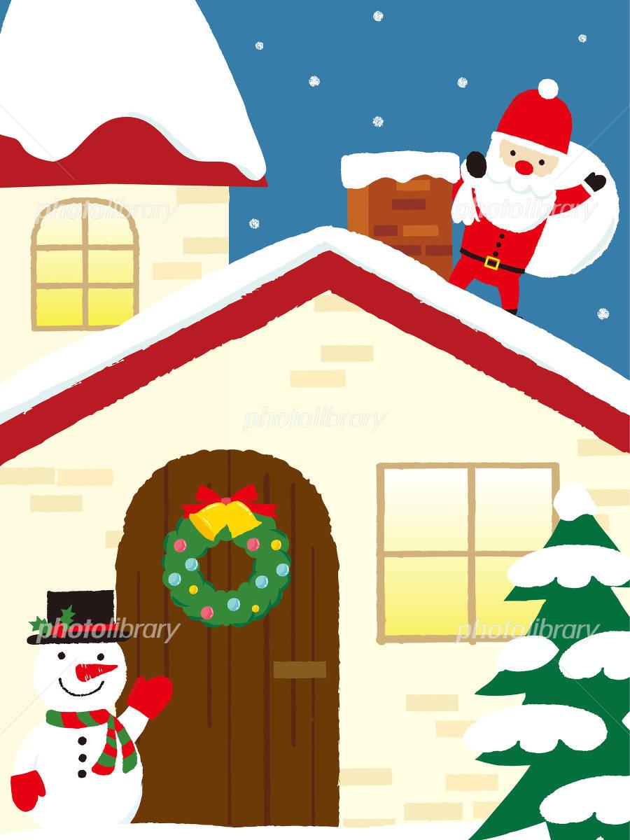 クリスマス 煙突に入るサンタ イラスト素材 フォトライブラリー Photolibrary