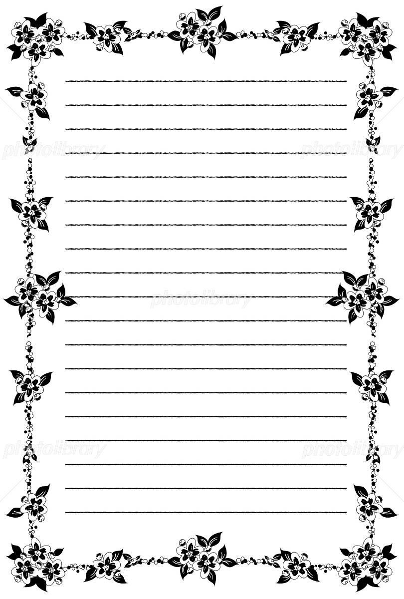 花の便箋モノクロ イラスト素材 4858802 フォトライブラリー