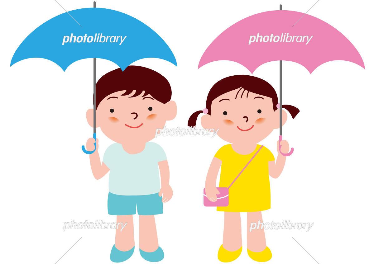 傘をさす男の子と女の子 イラスト素材 5064273 フォトライブラリー
