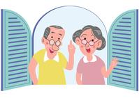 Elderly couple at window [5056953] window