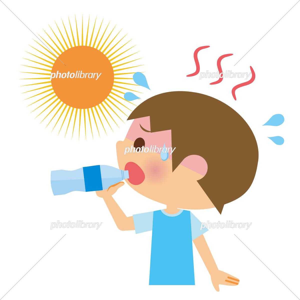 熱中症 水分補給 子供 イラスト素材 [ 5151650 ] - フォトライブラリー