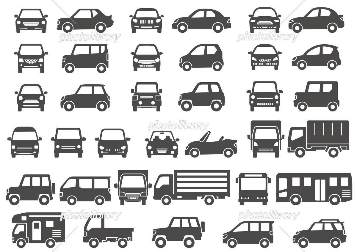 シンプルな車の正面と横(グレーシルエット) イラスト素材 [ 5156073