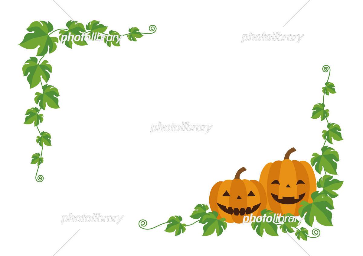 ハロウィン お化けカボチャとカボチャのツルのフレーム イラスト素材