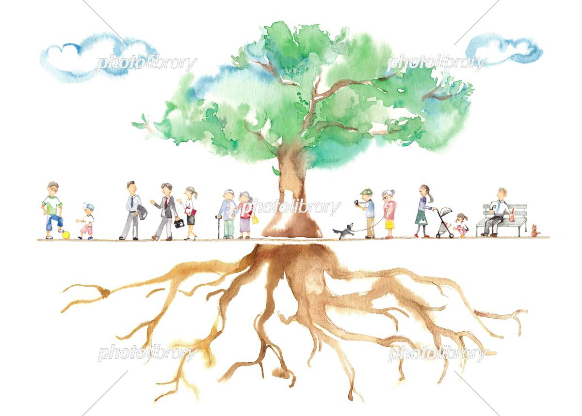 Park trees, men and seniors, clouds, roots, animals, women イラスト素材