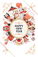 New Year's cards Japanese-style dogs cats congratulations lucky cards HAPPYNEWYEAR [5245719] Cat