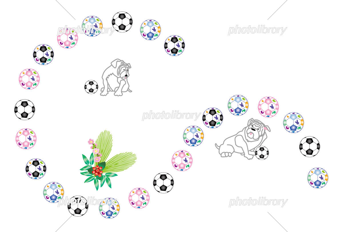 サッカーボールと可愛い犬のイラストのポストカード イラスト素材