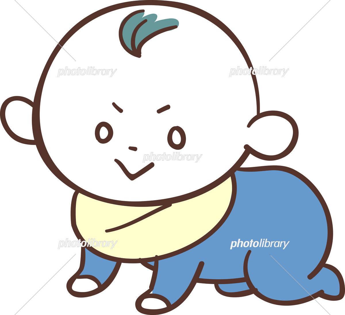青い服を着た かわいい赤ちゃん 男の子 ハイハイ イラスト素材 5964543