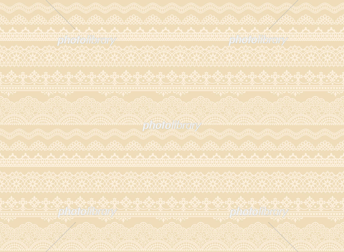 刺繍レース ベージュ リネン 広告背景 イラスト素材 [ 5990379