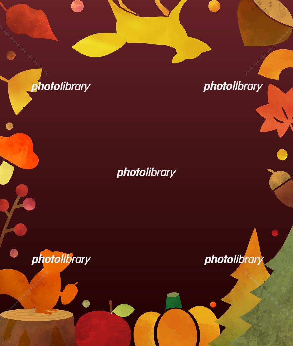 オシャレな秋の水彩カード イラスト素材 フォトライブラリー Photolibrary