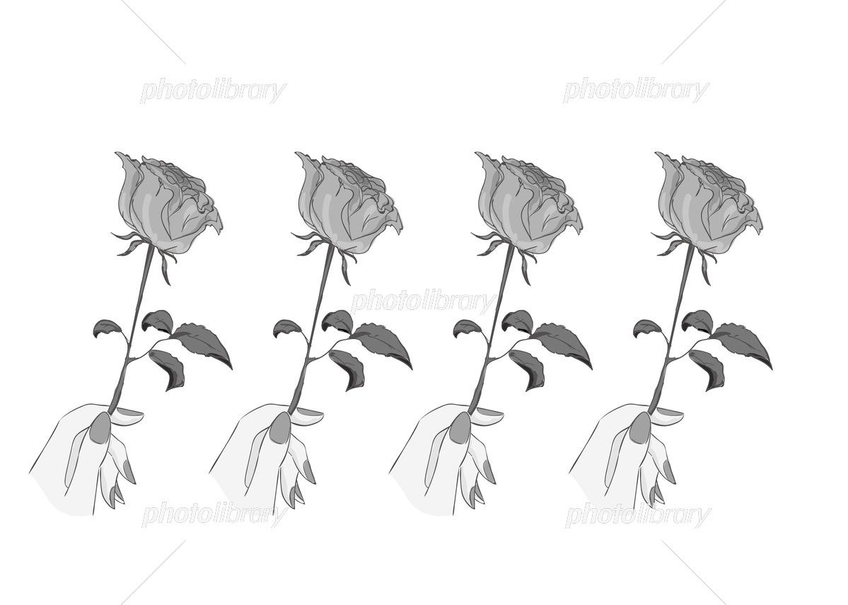 オシャレイラスト バラを持つ手 モノクロ イラスト素材 フォトライブラリー Photolibrary