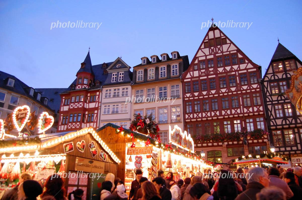 フランクフルト クリスマスマーケットの写真素材