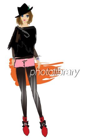 秋女の子ファッション 流行 イラスト素材 593329 フォトライブ