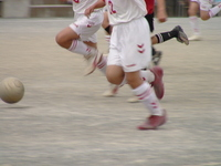 Foot and ball for boys soccer dribbling Stock photo [598098] Primary