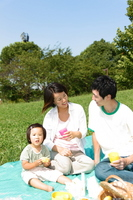 Family for a picnic in the park Stock photo [673355] Family