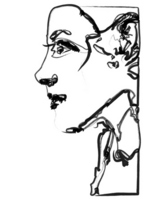 Profile _ drawing of smiling woman Stock photo [674179] Smile