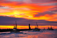 Departure landscape of Soya Port and scallop fishing fleets of the morning glow Stock photo [915562] Morning