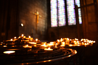 World Heritage Notre Dame Cathedral stained glass and candles Stock photo [917870] Notre