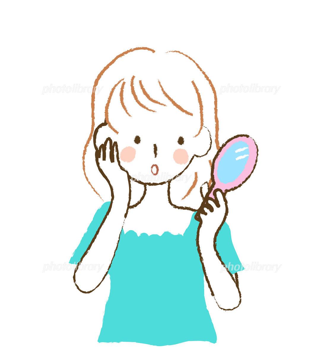 鏡を見る女性 イラスト素材 [ 1022354 ] - フォトライブラリー photolibrary