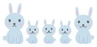 Rabbit family of five gray [1015053] Rabbit