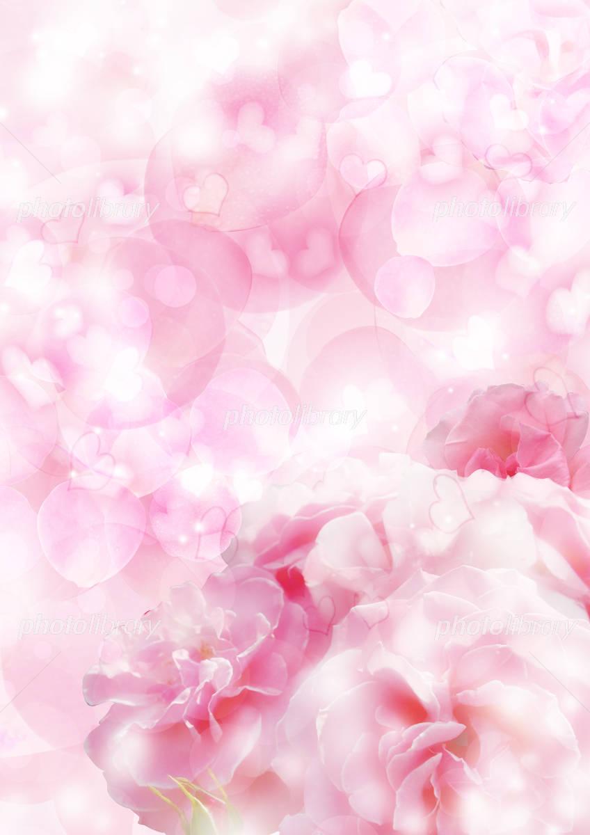 背景素材 花とハート イラスト素材 [ 1133417 ] - フォトライブラリー