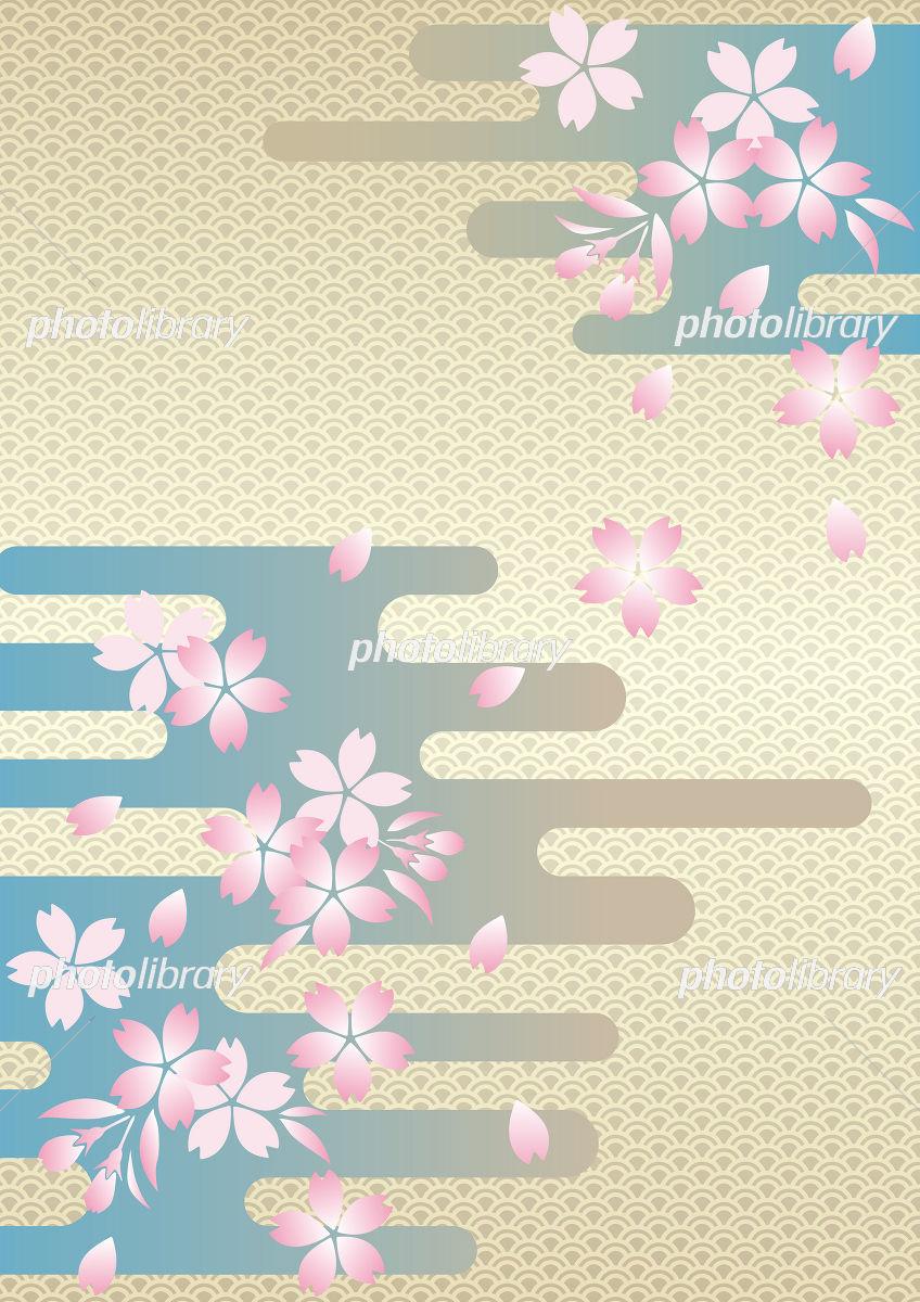 桜と和風背景 イラスト素材 [ 1138778 ] - フォトライブラリー photolibrary