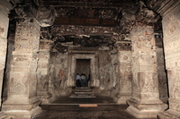 Inside the main hall of the Ellora Caves Kairasanata temple Stock photo [1246801] Ellora