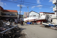 Fishing boat that drifted ashore by the tsunami Stock photo [1328678] Tsunami