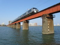 Nippō Main Line Oyodo River bridges and express Nichirin Stock photo [1331025] Miyazaki-Shi
