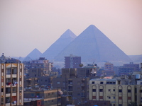 Pyramids of Giza distant view Stock photo [1416022] Pyramid