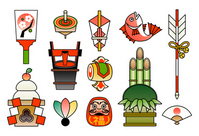 New Year New Year's card luck Kagami mochi Kadomatsu illustrations [1419868] New