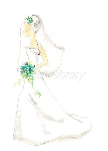 ウェディングドレス イラスト素材 [ 1613743 ] , フォトライブ