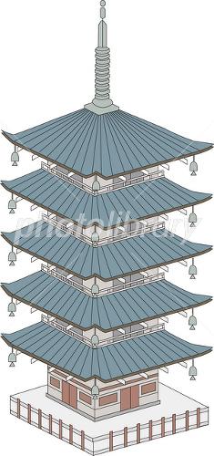 京都の五重の塔 イラスト素材 1721862 フォトライブラリー