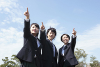 High school students who point at the far under the blue sky Stock photo [1719197] Student