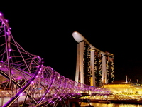 Helix Bridge and Marina Bay Sands to Singapore Stock photo [1722719] Singapore
