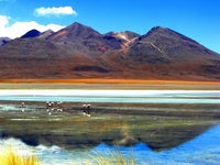 Lake and the mountains of Bolivia, Flamingo Stock photo [1790574] South