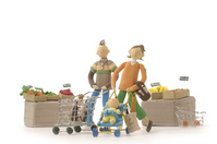 Illustrations solid family shopping An