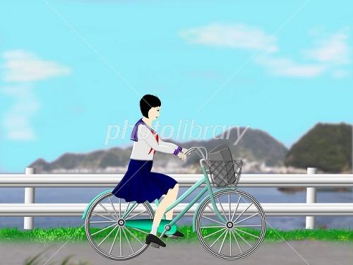 自転車の 通学自転車 : 自転車通学の女子高校生 画像ID ...