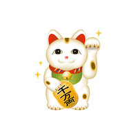 Beckoning cat illustrations of stock photo
