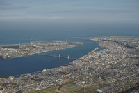 Aerial near the mouth of the Tone River Stock photo [2217937] Tonegawa