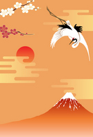 New Year background crane and Mount Fuji [2222243] Mt.