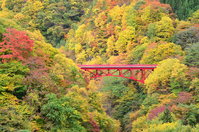 Matsukawa autumn colors and high bridge of the valley Stock photo [2223367] Matsukawa