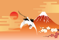 Fuji and crane stock photo