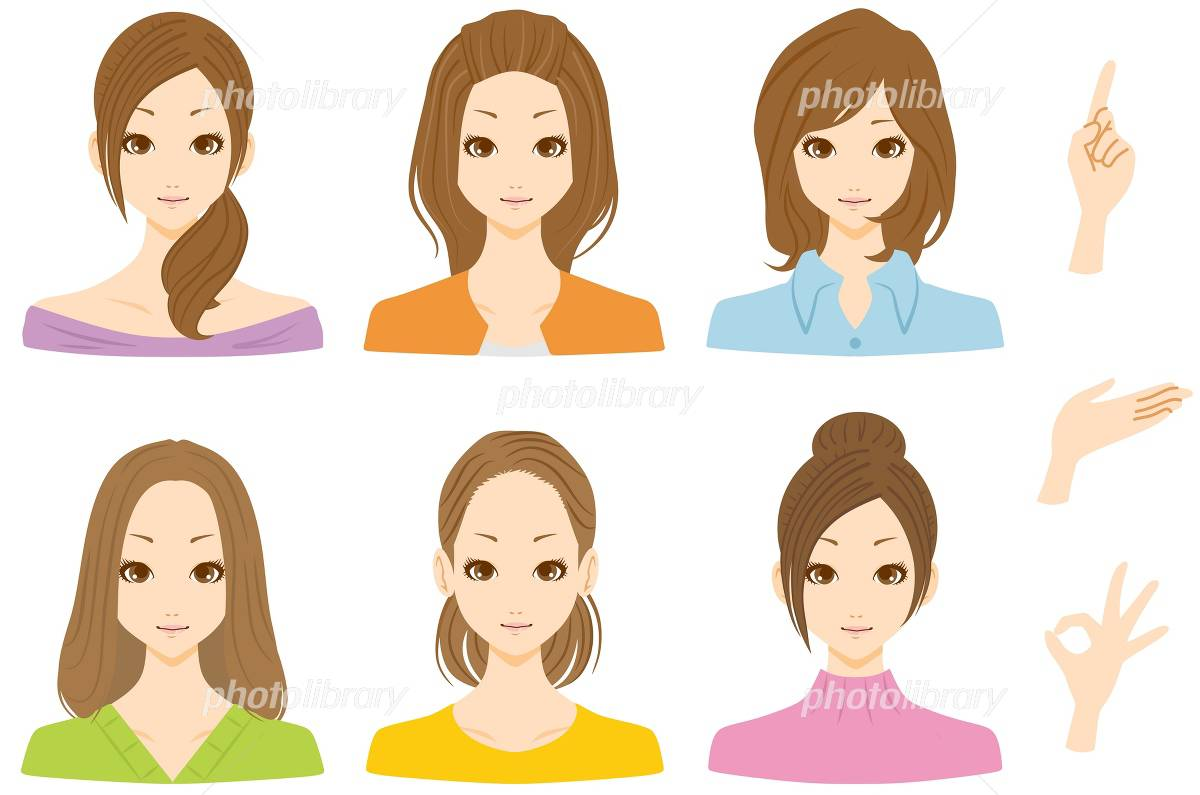 I smile woman multiple イラスト素材