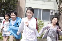 Four elementary school students to be home from school Stock photo [2349017] Four